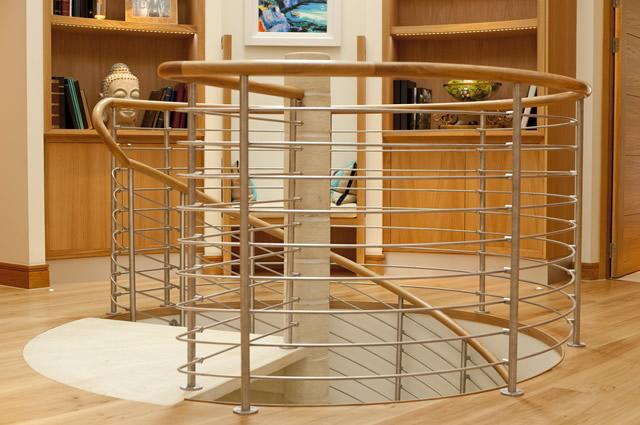 Spiral Stair with Metal Balustrade